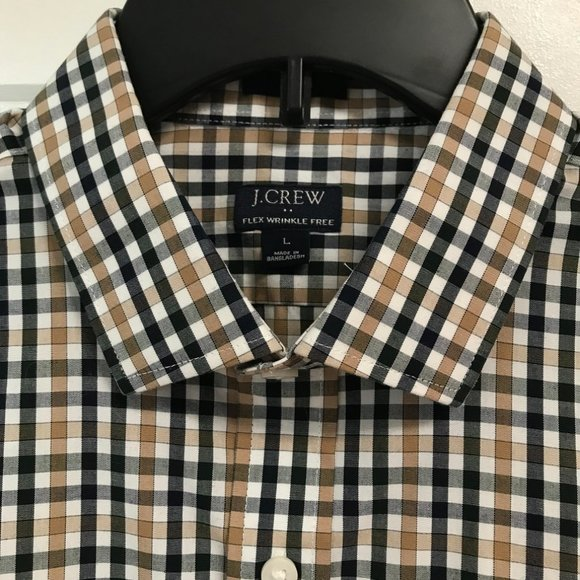 J Crew Men's button down plaid wrinkle free shirt